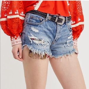 NWT Free People Embroidered Distressed Denim Short